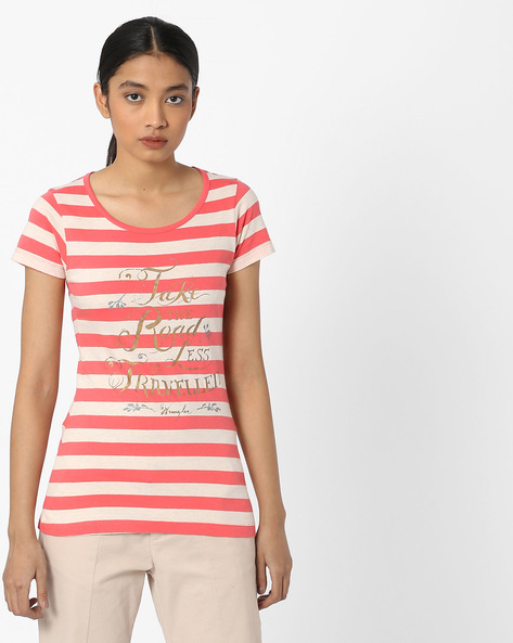 Striped Round-Neck T-shirt By WRANGLER ( Assorted )