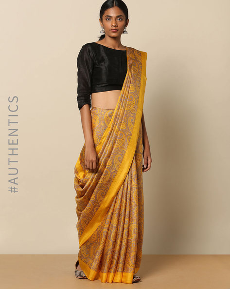 Soft Pure Silk Paisley Jaal Print Saree By Rudrakaashe-MSU ( Yellow )