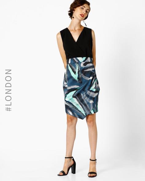 Abstract Print Sheath Dress By Closet London ( Blue )