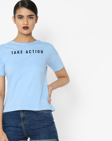 T-Shirt With Typographic Print By Blue Saint ( Blue )