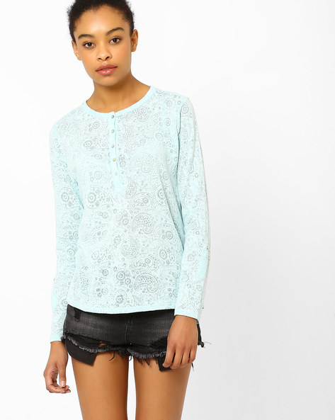 Paisley Print Top By FIG ( Ltblue )