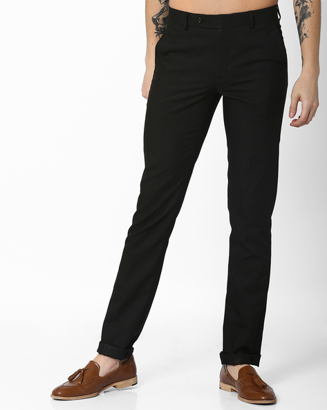 Slim Fit Flat-Front Trousers By British Club ( Black )