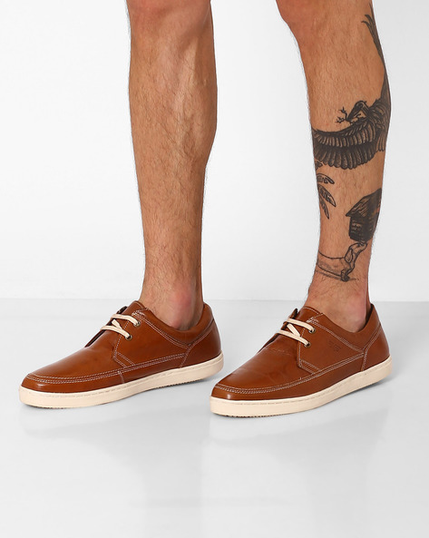 Genuine Leather Lace-Up Shoes By RED TAPE ( Tan )