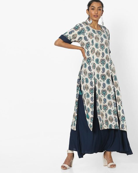 Double Layered Maxi Dress By Shree ( Teal )