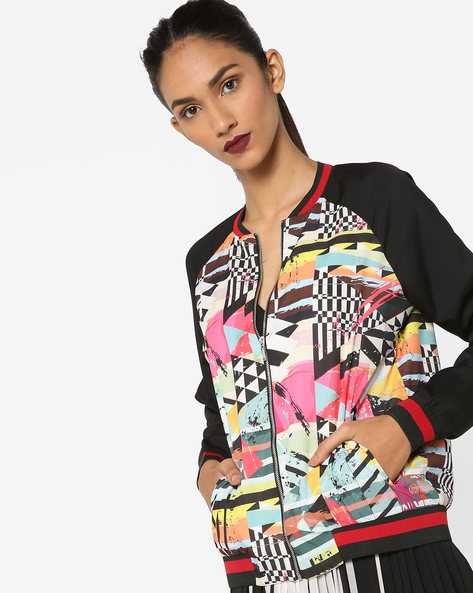 Printed Jacket With Raglan Sleeves By AJIO ( Black )
