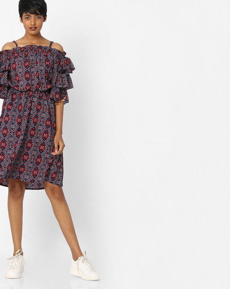 Printed A-line Dress With Tiered Ruffle Sleeves By Rena Love ( Multi )