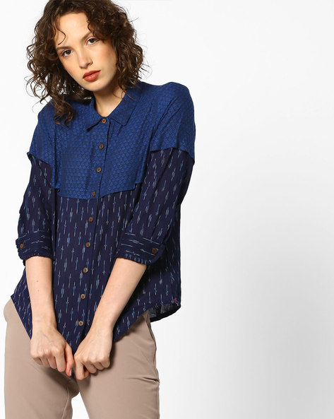 Layered Top With Button Placket By Project Eve IW Fusion ( Blue )