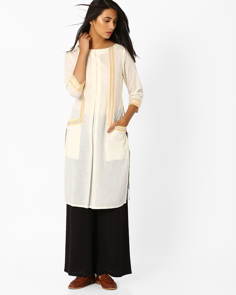 Straight Kurta With Embroidery By AJIO ( Offwhite ) - 460014183003