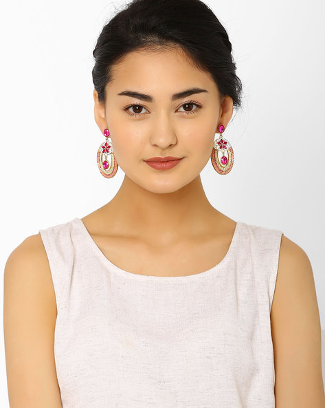 Embellished Drop-Earrings By AJIO ( Pink )