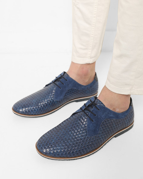 Basket-Weave N9-Treated Casual Shoes By AJIO ( Navy )