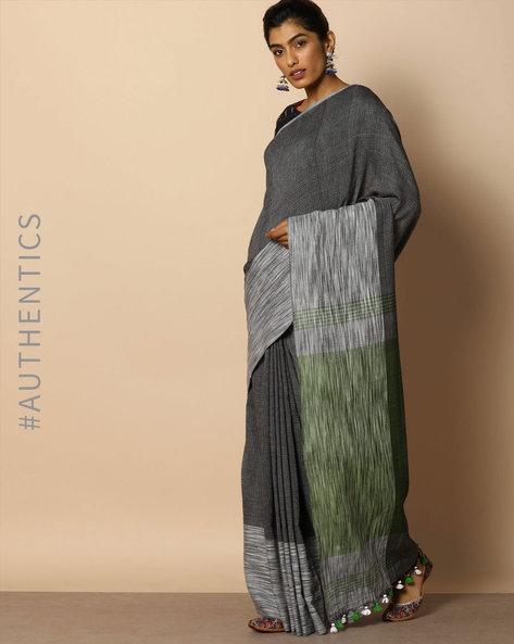 Handloom Bengal Cotton Herringbone Saree With Tassels By Indie Picks ( Multicolour )