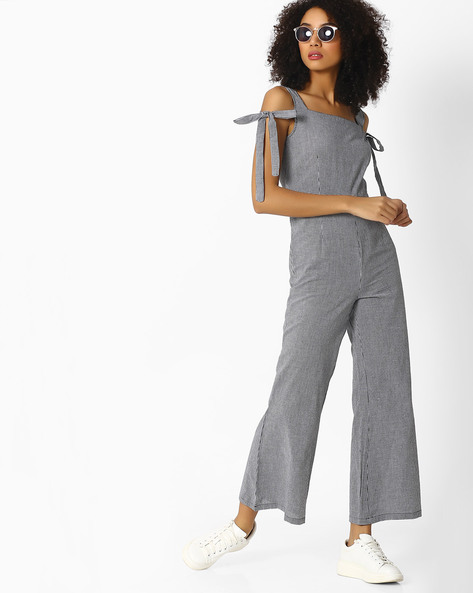 Jumpsuit With Tie-Up Sleeves By Femella ( Black )