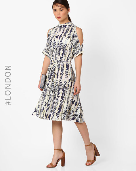 Printed Cold-Shoulder Dress By Closet London ( Multi )