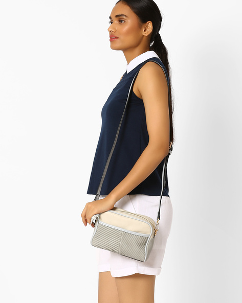 Quilted Sling Bag By AJIO ( Beige )