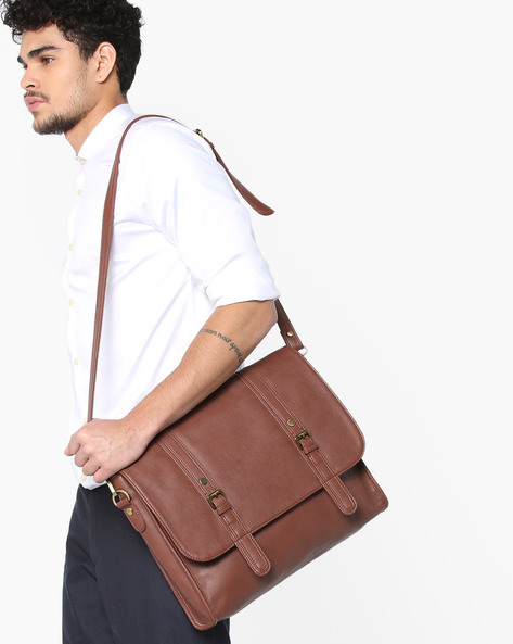 Laptop Messenger Bag By GAUGE MACHINE ( Brown ) - 460124365001