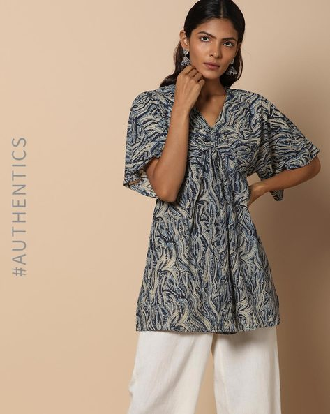 Hand Block Print Kalamkari Cotton Funnel Neck Top By Indie Picks ( Indigo )