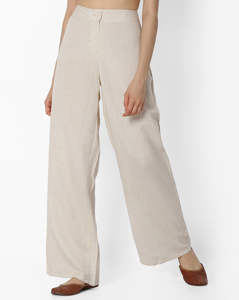 Palazzo Trousers With Zip Fly By Global Desi ( Natural )