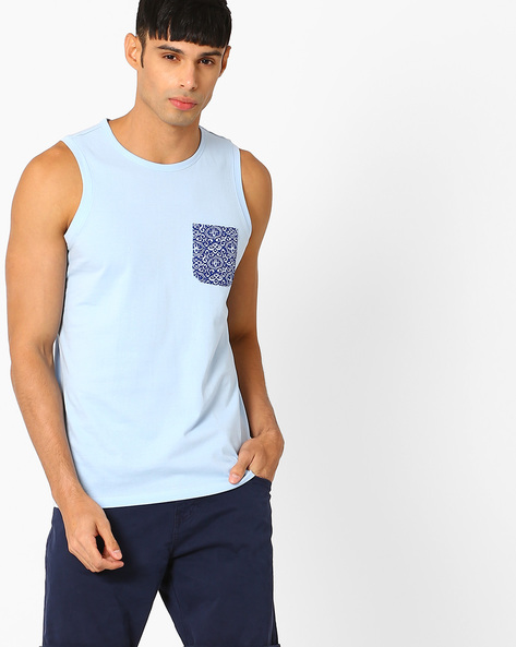 Summer Tank T-shirt With Printed Pocket By AJIO ( Blue )