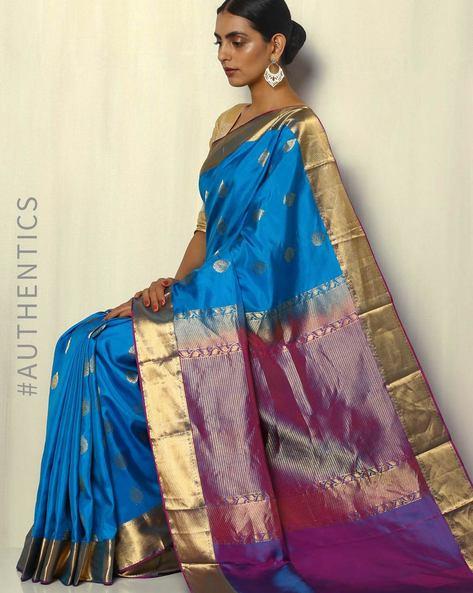 Handloom Kanchipuram Silk Saree With Tested Zari By Pretty Woman ( Blue )