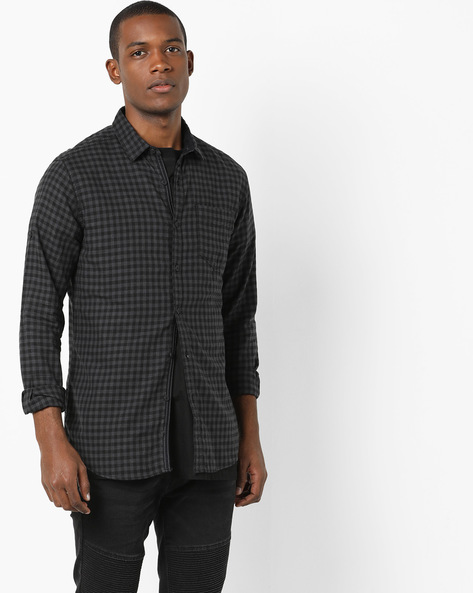 Slim Fit Cotton Checked Shirt By Locomotive ( Multi )
