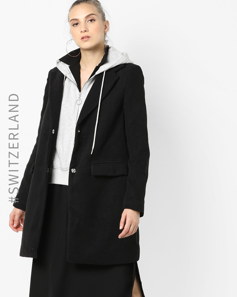 Layered Hooded Coat By TALLY WEiJL ( Black )