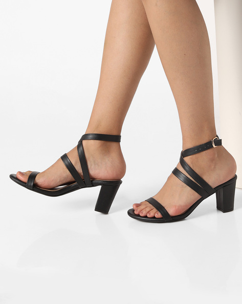 AJIO Black Chunky Heels Heeled Sandals with Ankle Strap