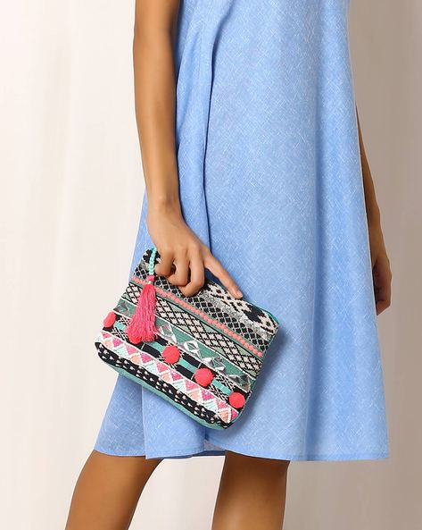Embellished Cotton Clutch By Indie Picks ( Multi )