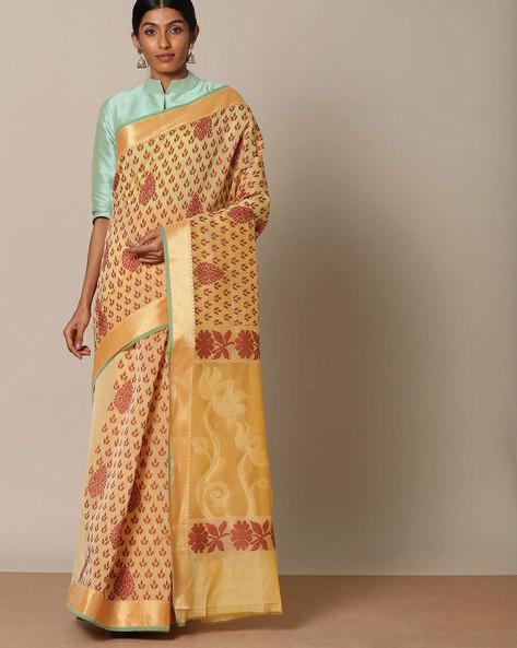 Pure Cotton Mercerised Saree With Brocade Pallu By Indie Picks ( Beige )