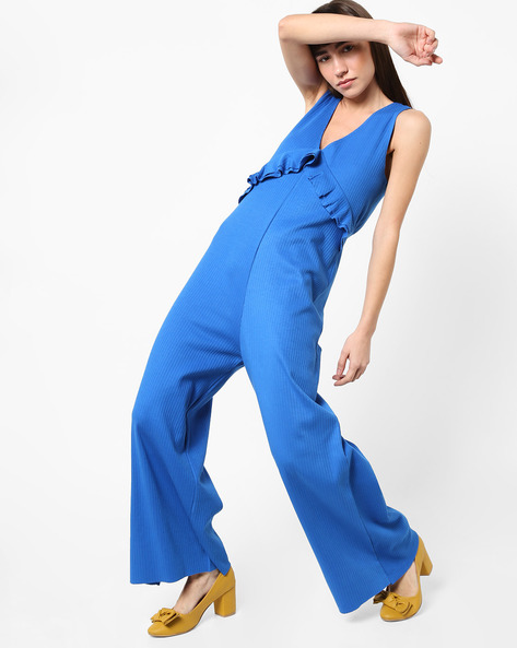 Jumpsuit With Ruffles By AJIO ( Blue )