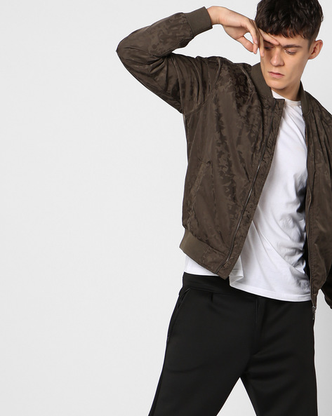 Printed Bomber Jacket By AJIO ( Olive )