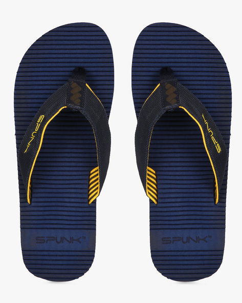 Striped Flip-Flops With Canvas Straps By Spunk ( Navy )