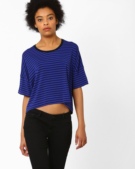 Striped Crop Top By CHEMISTRY ( Blue )