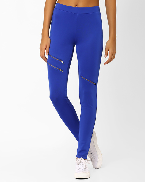 Leggings With Zip Detailing By AJIO ( Blue )