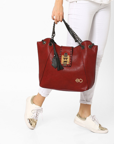 Hobo Bag With Tassel Detail By E2O ( Maroon )