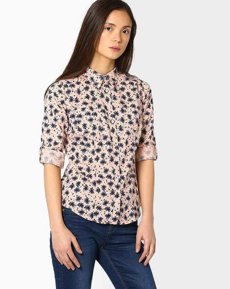 Floral Print Shirt With Roll-Tab Sleeves By DNMX ( Redorange )