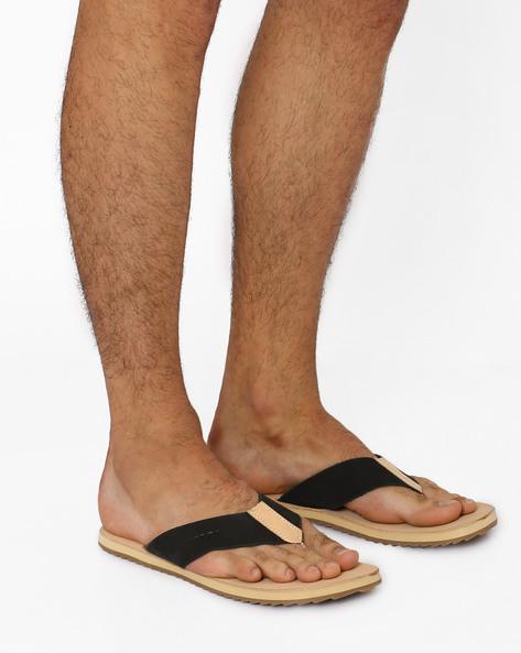Casual Leather Flip-Flops By USPA ( Black )