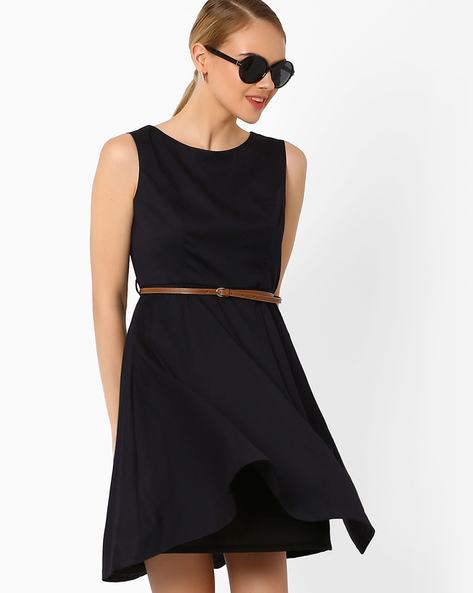 Fit & Flare Dress With Belt By AJIO ( Navyblue )