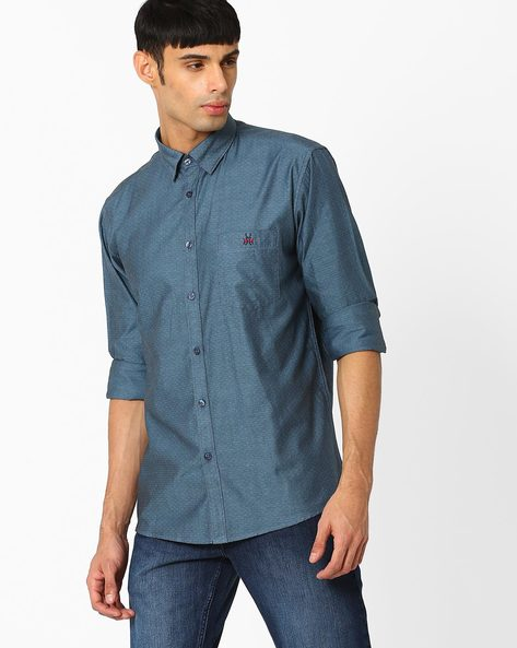 Slim Fit Printed Shirt By CRIMSOUNE CLUB ( Ltgrey )