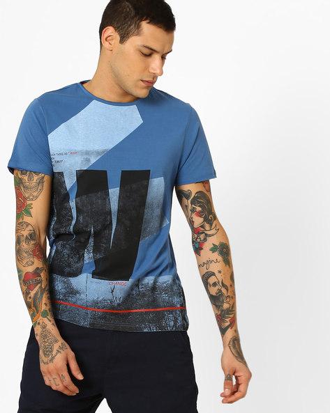 Graphic Print Slim Fit T-shirt By AJIO ( Blue )