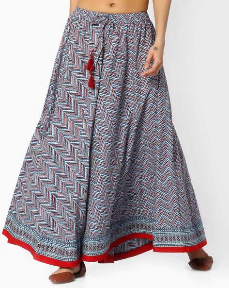 Chevron Print Flared Skirt By SIYAHI ( Blue )
