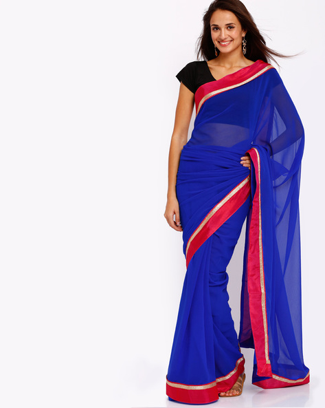 Chiffon Saree With Contrast Border By Majestic Silk ( Blue )