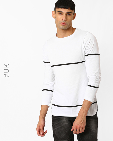 Crew Neck T-shirt With Full Sleeves By Native Youth ( White )