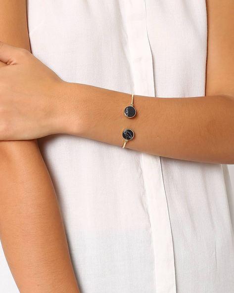 Stone Studded Cuff Bracelet By Pipa Bella ( Black )