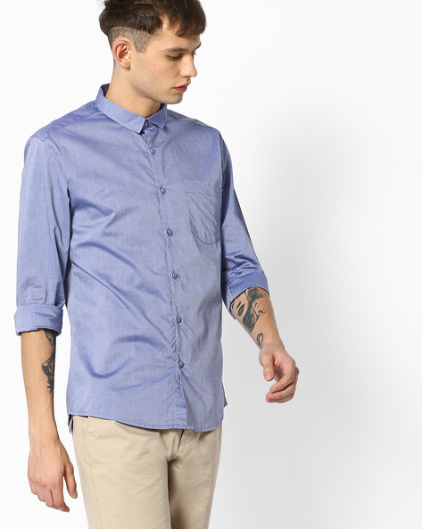 Slim Fit Shirt With Patch Pocket By VOI JEANS ( Blue )
