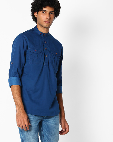 Slim Fit Cotton Shirt By The Indian Garage Co ( Grey )