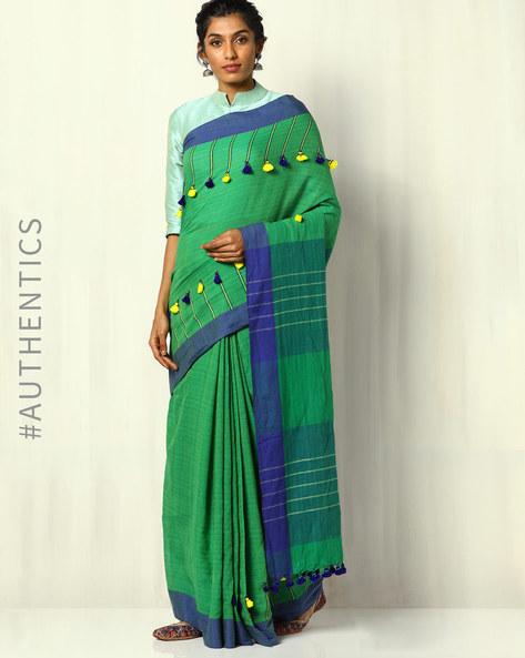 Handloom Bengal Cotton Designer Saree With Tassels By Indie Picks ( Green )