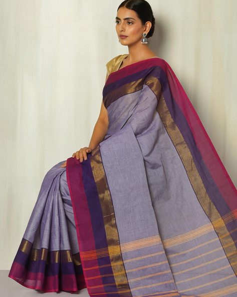 Kanchi Slub Cotton Saree With Woven Border By Indie Picks ( Blue )