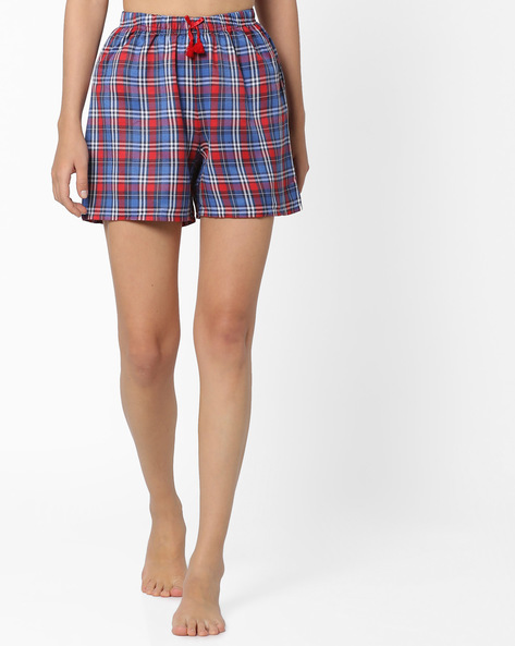Checked Lounge Shorts By PrettySecrets ( Sblue )