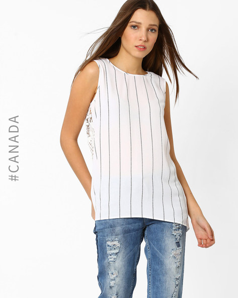 Striped Lace Top By Point Zero ( White )