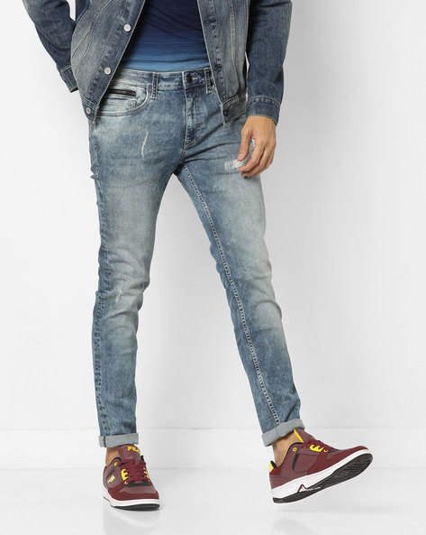 Super Slim Fit Distressed Jeans By ED HARDY ( Blue ) - 460155716001